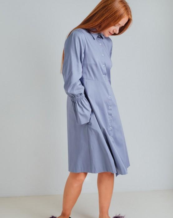 LIGHT BLUE SHIRT-DRESS