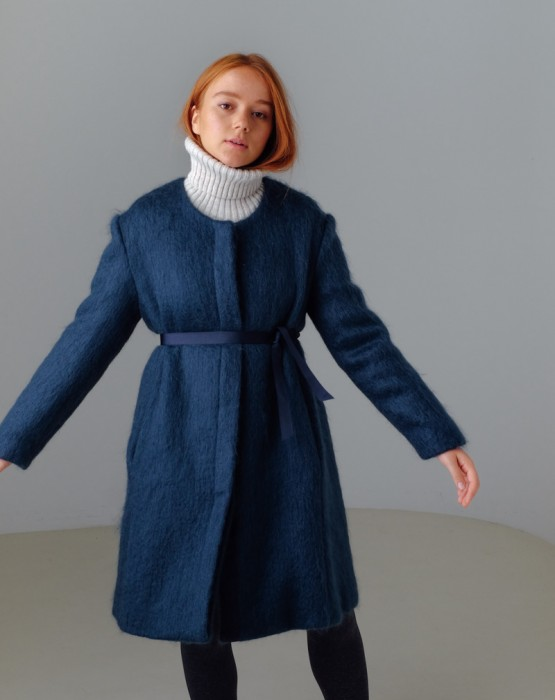 BLUE MOHAIR COAT