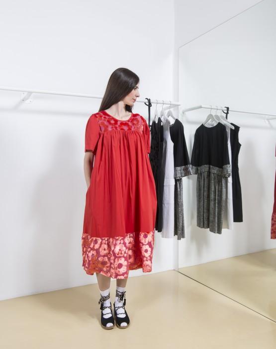 RED DRESS WITH VELVET RUFFLE