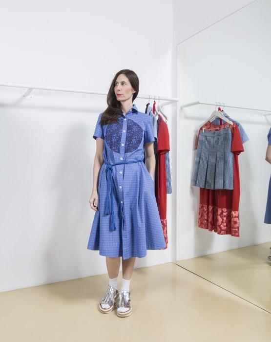 BLUE - BROWN SHIRT DRESS WITH CIRCLE