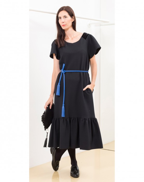BLACK LONG DRESS WITH SHORT SLEEVES