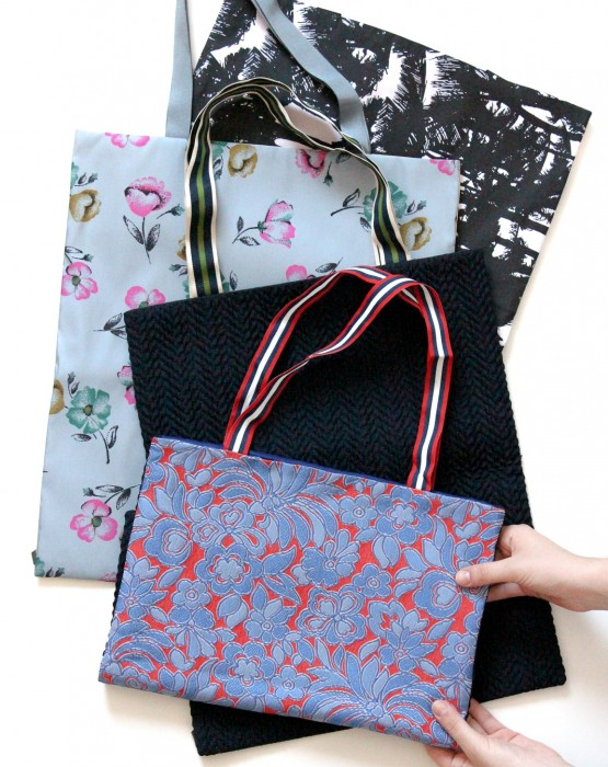 TWO SIDED TEXTILE TOTE BAG