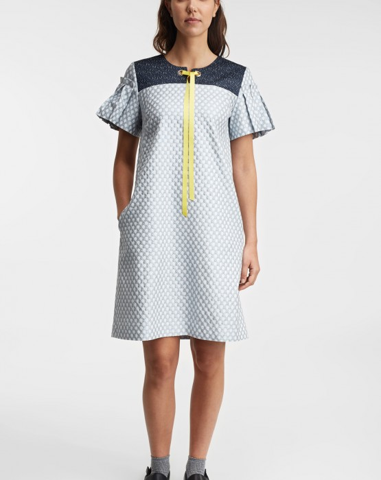 SHORT SLEEVE DRESS WITH YELLOW DETAIL