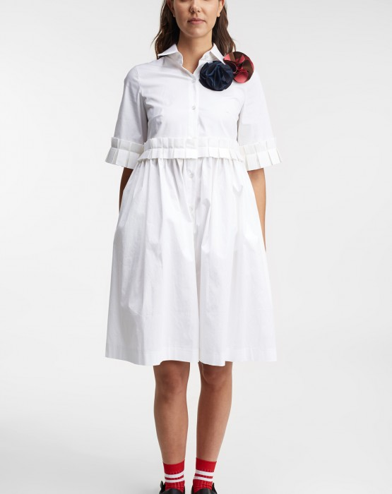 SHIRT DRESS WITH RUFFLE DETAILS