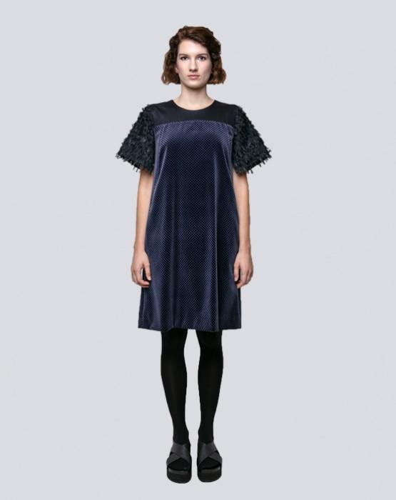 BLACK AND BLUE SHORT SLEEVE DRESS