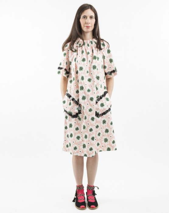 FLOWER PRINT DRESS WITH BLACK CIRCLES