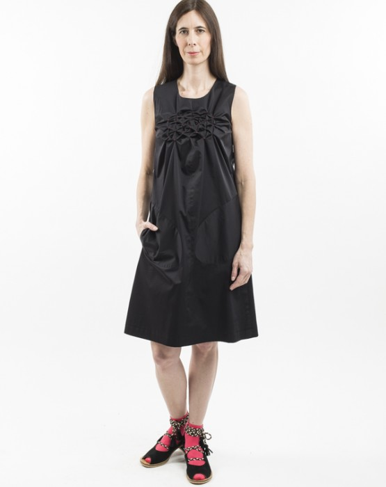 SLEEVELESS DRESS WITH HAND -STITCHED DETAILS