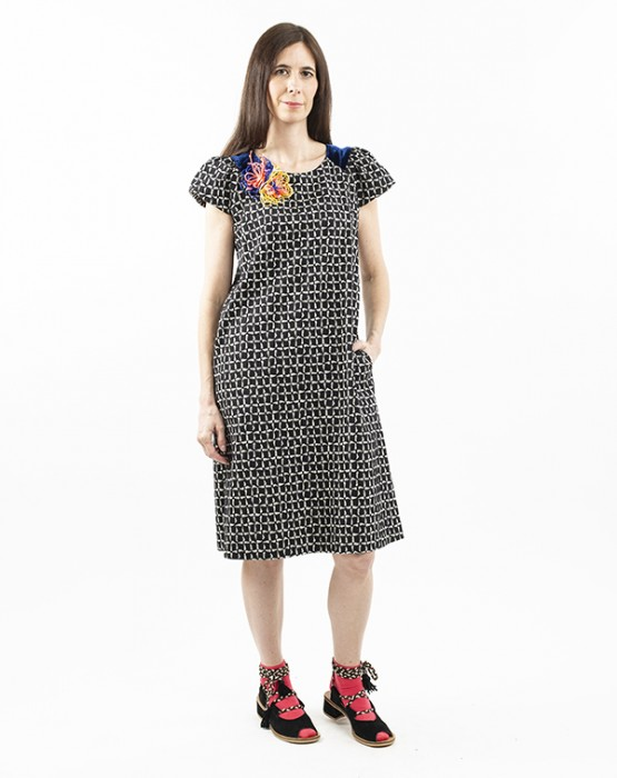 PRINTED DRESS WITH RAGLAN SLEEVES