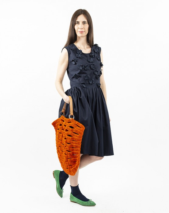 PLEATED DRESS WITH 3 DIMENSIONAL FLOWERS
